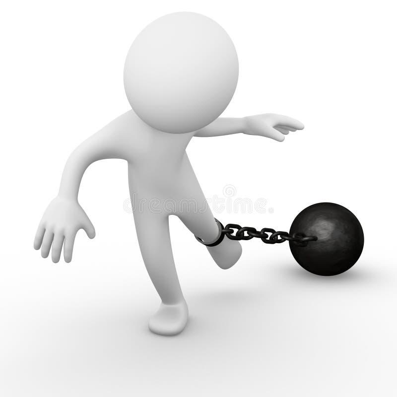 De bal van de ketting in bijlage aan een mens stock illustratie