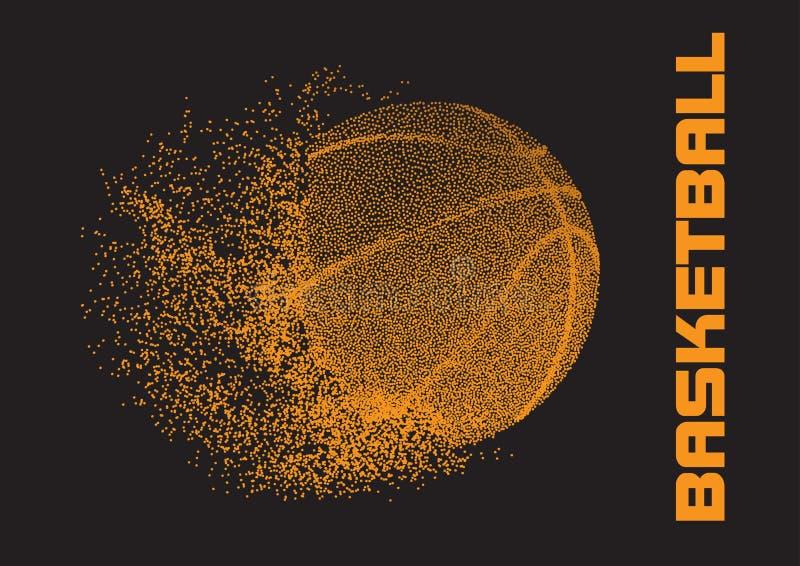 De bal van het basketbal op zwarte achtergrond Sportenconcept, vector stock illustratie