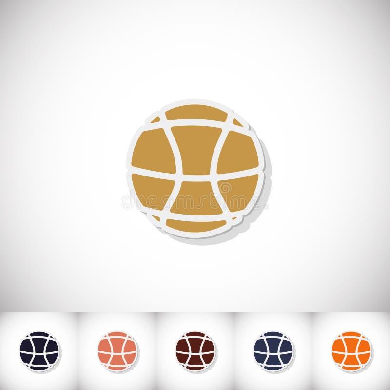 De bal van het basketbal Vlakke sticker met schaduw op witte achtergrond royalty-vrije illustratie