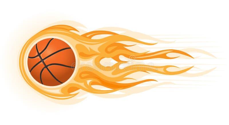 De bal van het basketbal in vlam royalty-vrije illustratie