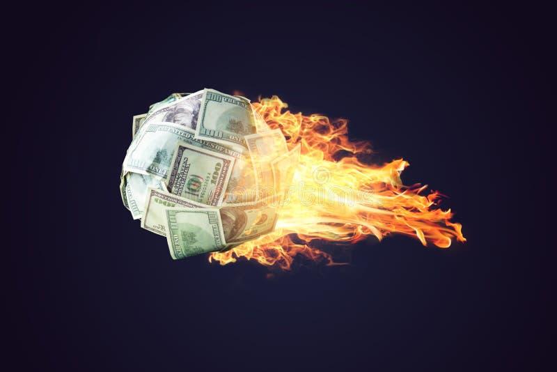 De bal van het brandgeld van dollarrekeningen die als een komeet in ruimte uitgaan Concept de snelle ontwikkeling van financiële  stock foto