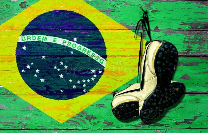 De bal van het Brazillvoetbal stock afbeeldingen
