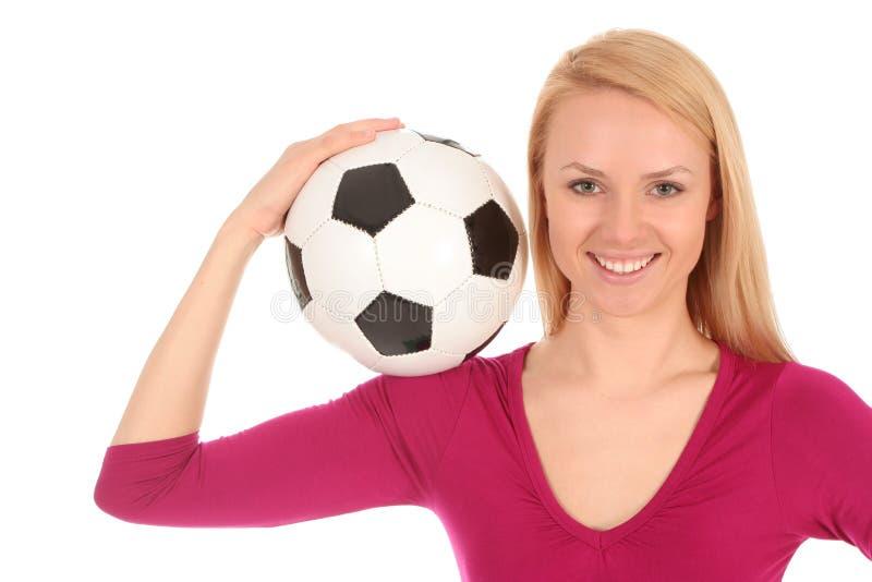 De bal van het de holdingsvoetbal van de vrouw stock afbeeldingen