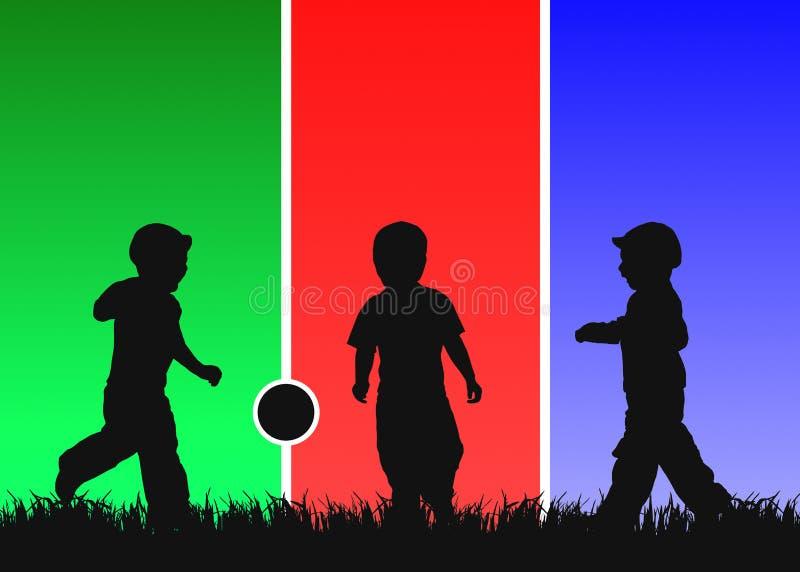De bal van het drie jonge geitjesspel royalty-vrije illustratie