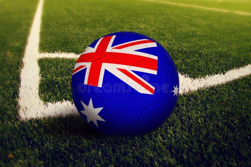 De bal van het Eiland Heard en Mcdonald-van Eilanden op hoek schopt positie, de achtergrond van het voetbalgebied Nationaal voetb stock afbeeldingen