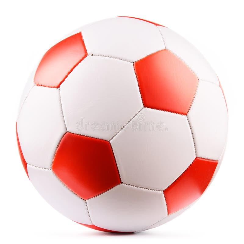 De Bal van het leervoetbal op witte achtergrond wordt ge?soleerd die royalty-vrije stock foto's