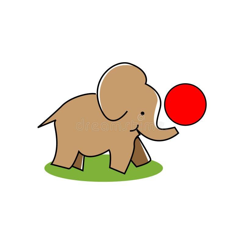 De bal van het olifantenspel Vlak Ontwerp royalty-vrije illustratie