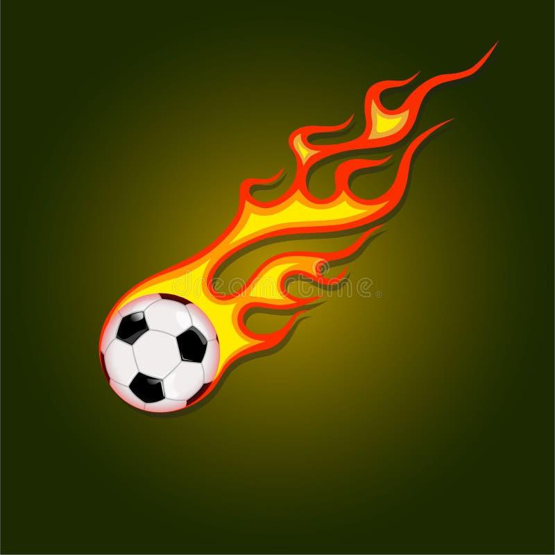 De bal van het pictogramvoetbal in een brandvlam royalty-vrije illustratie