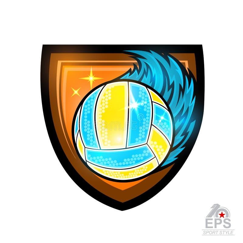 De bal van het strandvolleyball met windsleep in centrum van schild Vectorsportembleem voor om het even welk die team en kampioen royalty-vrije illustratie