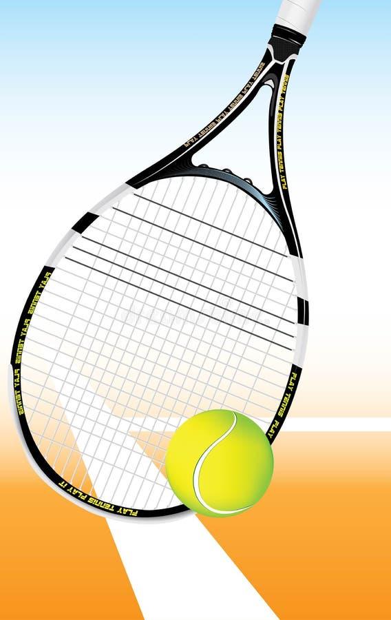 De Bal van het tennis op het hof met racket stock illustratie