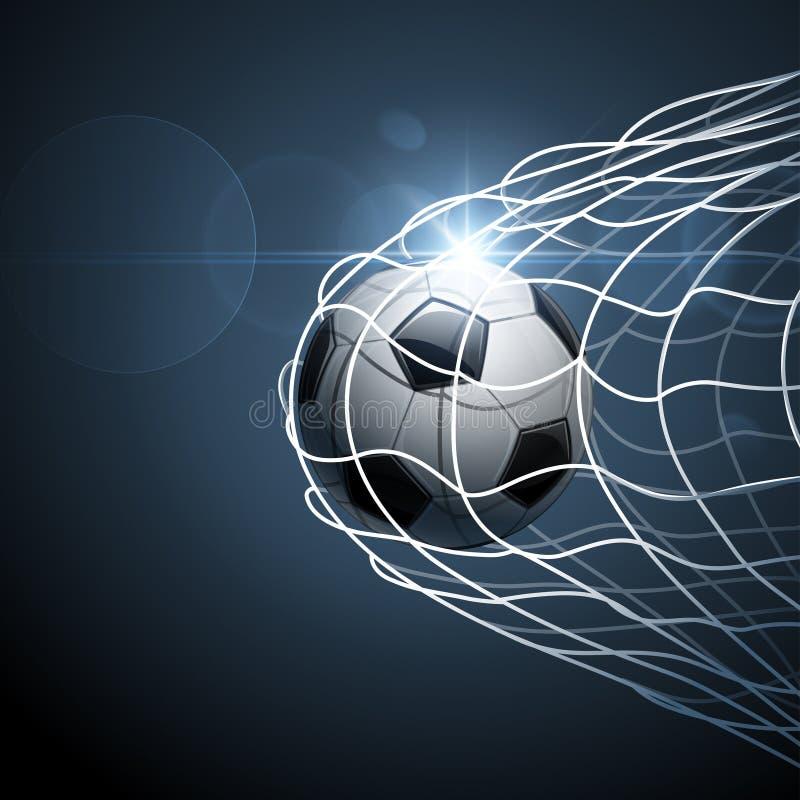 De bal van het voetbal in doel stock illustratie