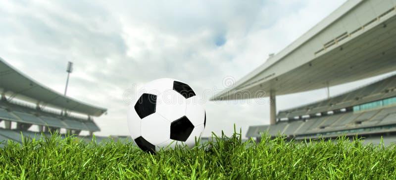 De Bal van het voetbal in een Stadion stock afbeelding