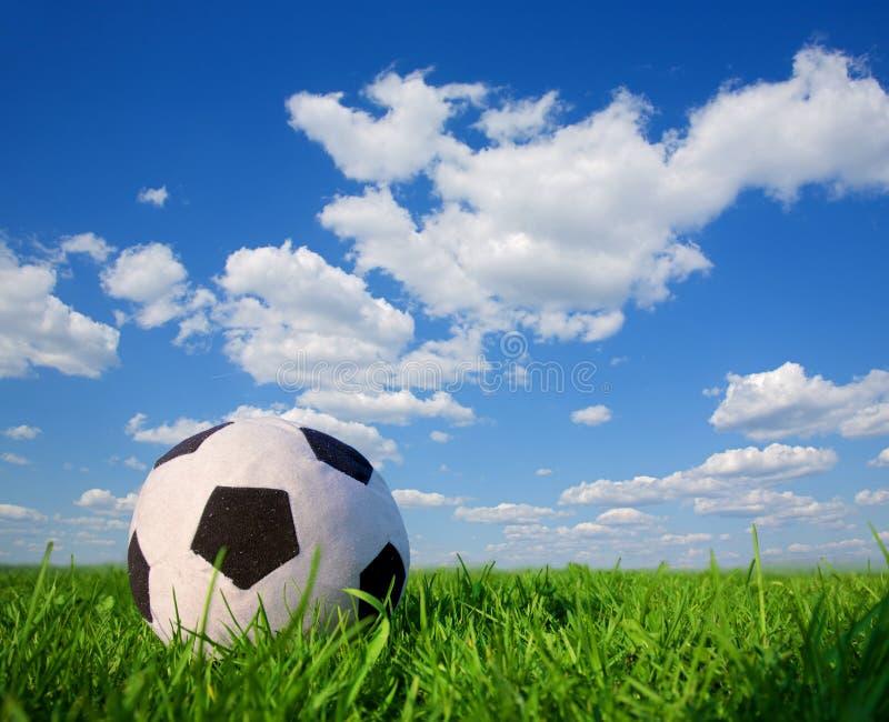 De bal van het voetbal in gras royalty-vrije stock fotografie