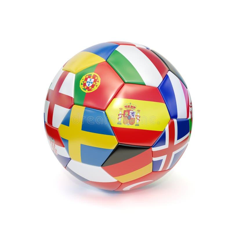 De bal van het voetbal met vlaggen vector illustratie