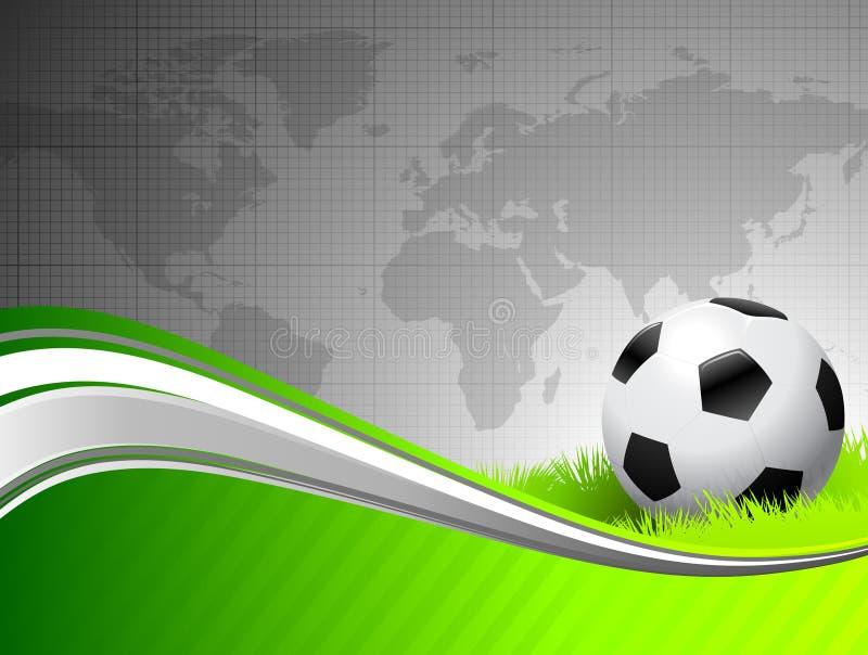 De Bal van het voetbal op abstracte groene Achtergrond met Worl stock illustratie