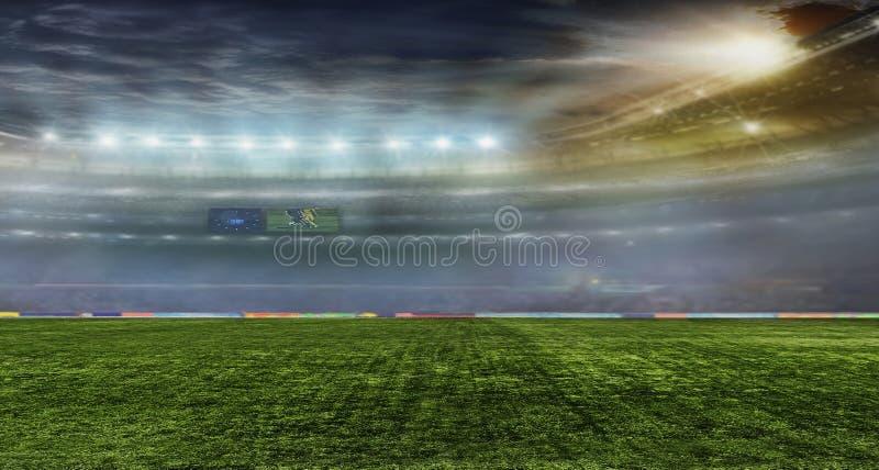 De bal van het voetbal op het gebied van stadion stock foto's