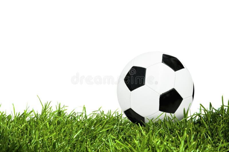 De Bal van het voetbal op Gras stock afbeelding