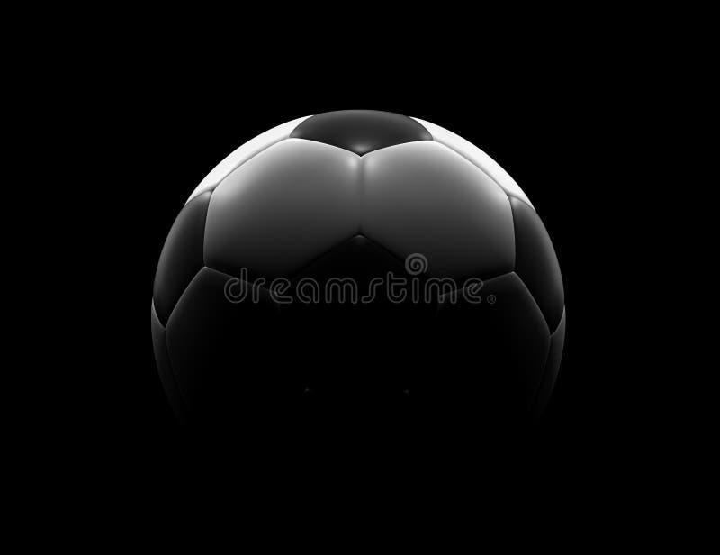 De bal van het voetbal op zwarte achtergrond stock illustratie