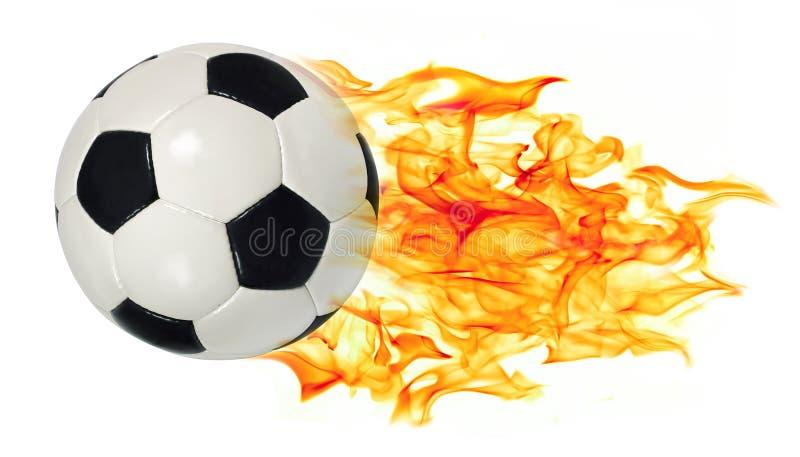 De bal van het voetbal in vlammen royalty-vrije stock fotografie