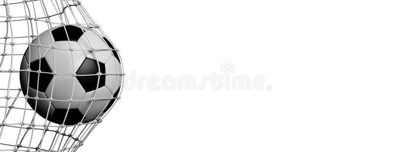 De bal van het voetbalvoetbal in doel, witte achtergrond 3D Illustratie royalty-vrije illustratie