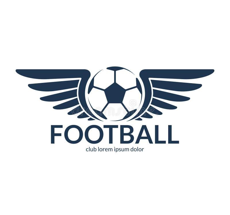 De bal van het voetbalvoetbal met vleugels Vectorembleem, symbool stock illustratie