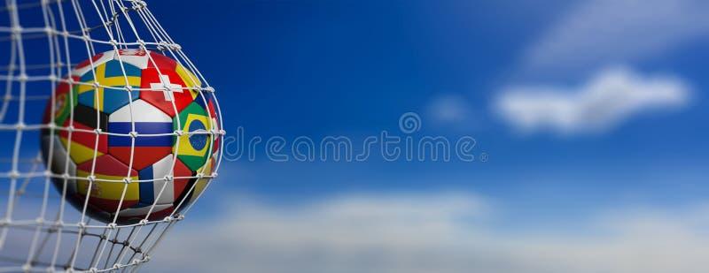 De bal van het voetbalvoetbal met wereldteams in doel, blauwe hemel stock illustratie