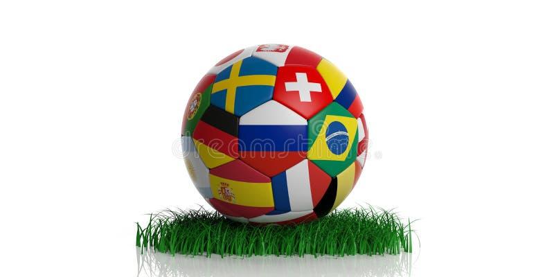 De bal van het voetbalvoetbal met wereldvlaggen op geïsoleerd gras, stock illustratie