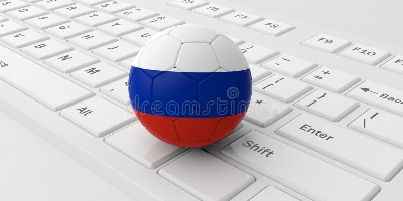 De bal van de het voetbalvoetbal van Rusland op een wit computertoetsenbord dat wordt geïsoleerd 3D Illustratie stock illustratie