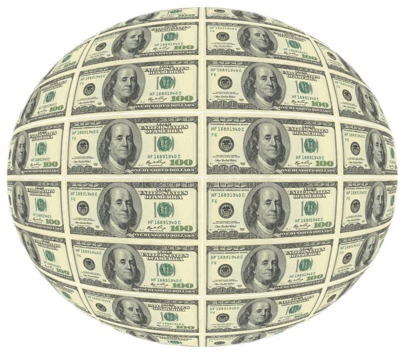 De bal van honderd dollars van rekenings$ 100 is de grootste huidige benaming van de Amerikaanse dollar Op de obvers lijkt het po vector illustratie
