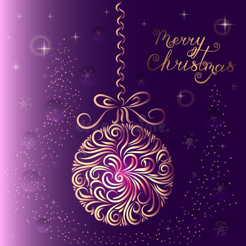 De bal van de kerstboomdecoratie in purpere kleuren Ornament Nieuwe jaaruitnodiging gelukwens viering De winter Sneeuwvlokken Ste stock illustratie