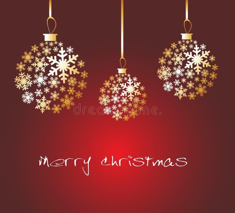 De bal van Kerstmis die van gouden sneeuwvlokken wordt gemaakt vector illustratie