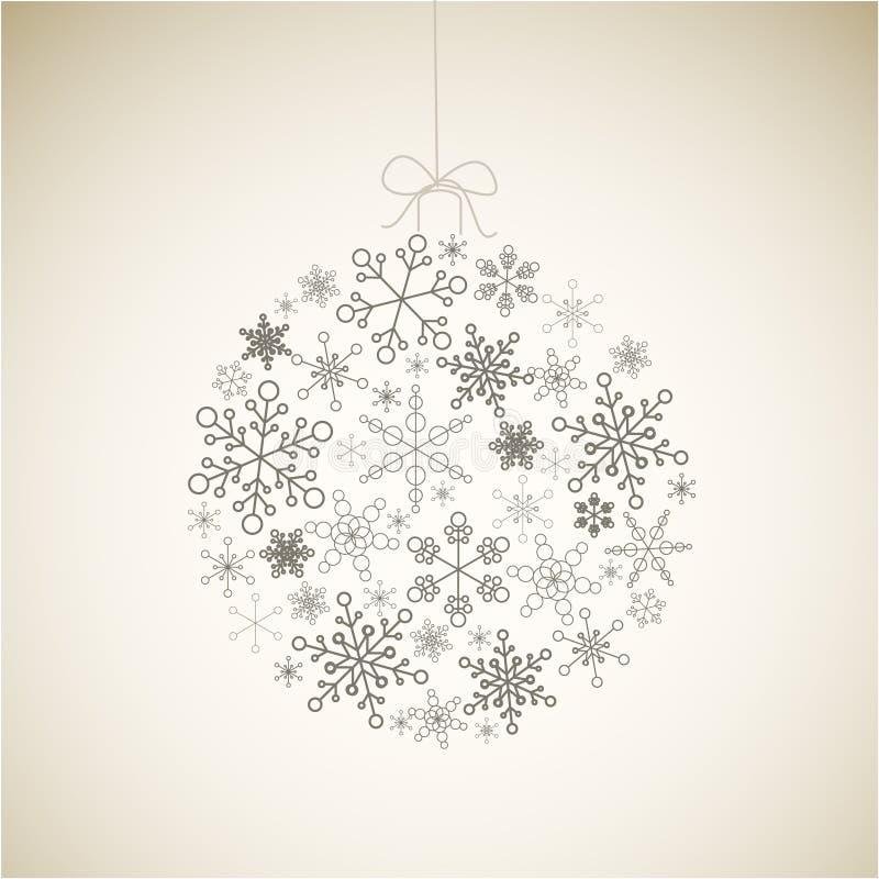 De bal van Kerstmis die van sneeuwvlokken wordt gemaakt vector illustratie