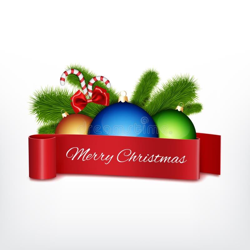 De bal van Kerstmis met rood lint royalty-vrije illustratie