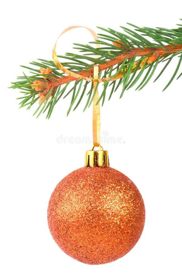 De bal van Kerstmis op een sparrentak royalty-vrije stock foto's