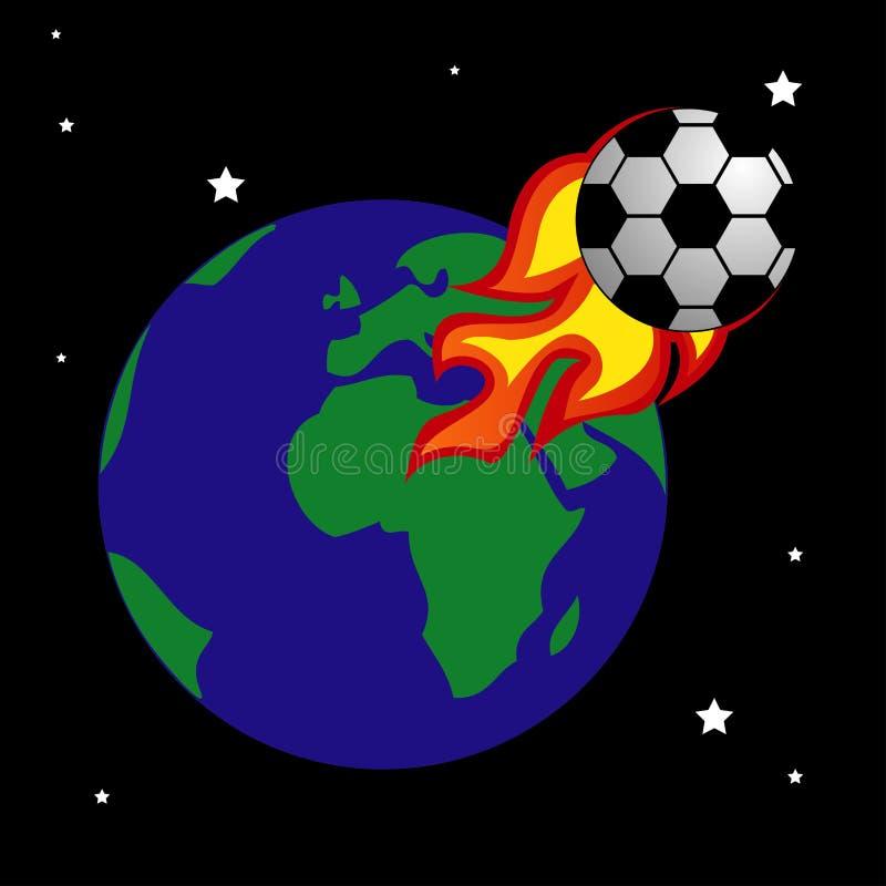 De bal van Logo Design Element van de voetbalbrand, brand, voetbal, vlam, brandwond, ontwerp, voetbal, stock illustratie