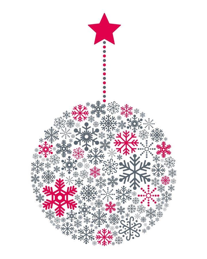 De Bal van sneeuwvlokkenkerstmis royalty-vrije illustratie