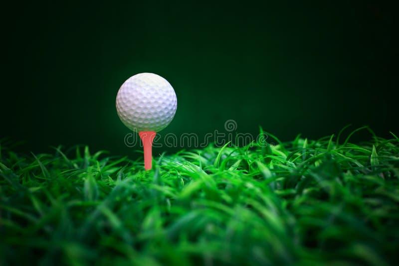 De balbestuurder en T-stuk van de golfbal op groen grasgebied stock fotografie