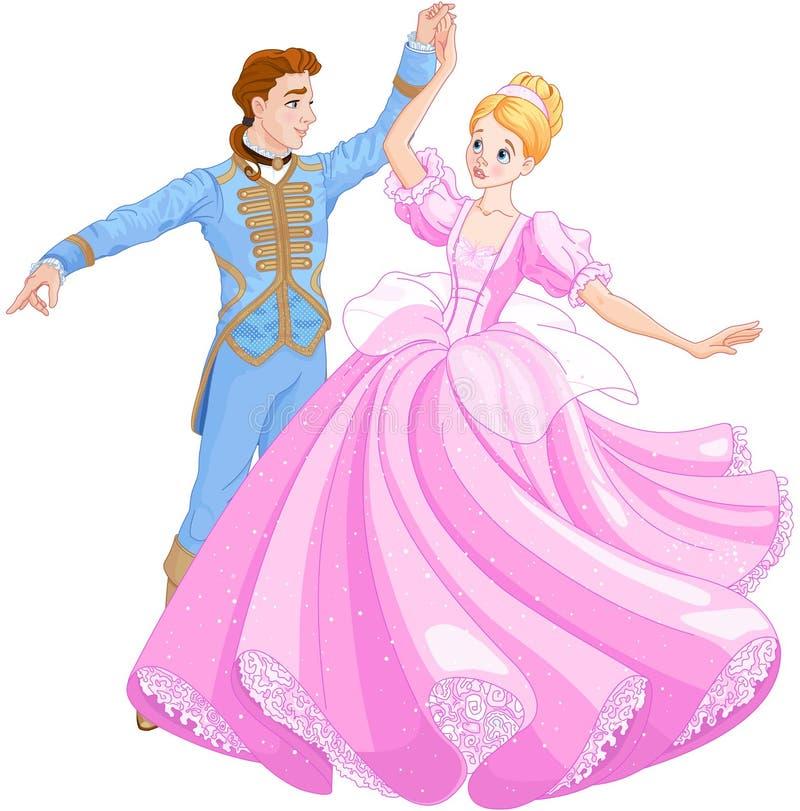 De Baldans van Cinderella en Prins royalty-vrije illustratie