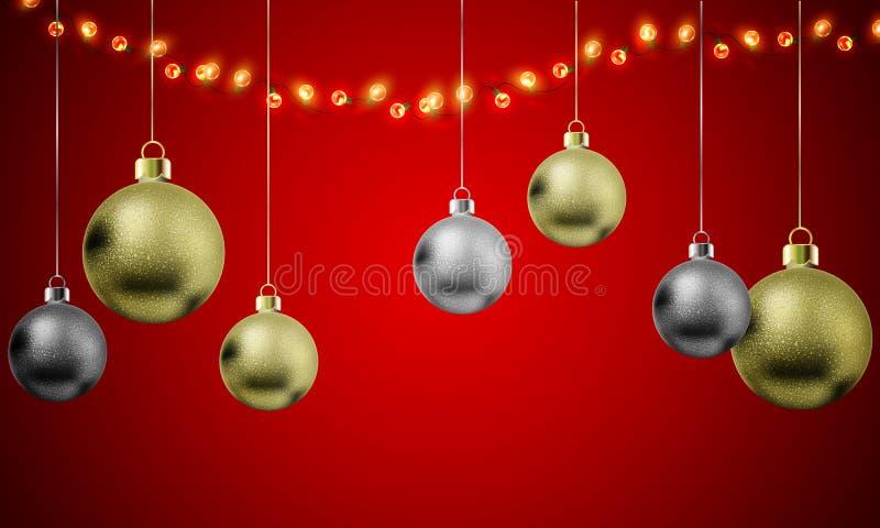 De ballen die van Kerstmis op rode achtergrond hangen royalty-vrije illustratie