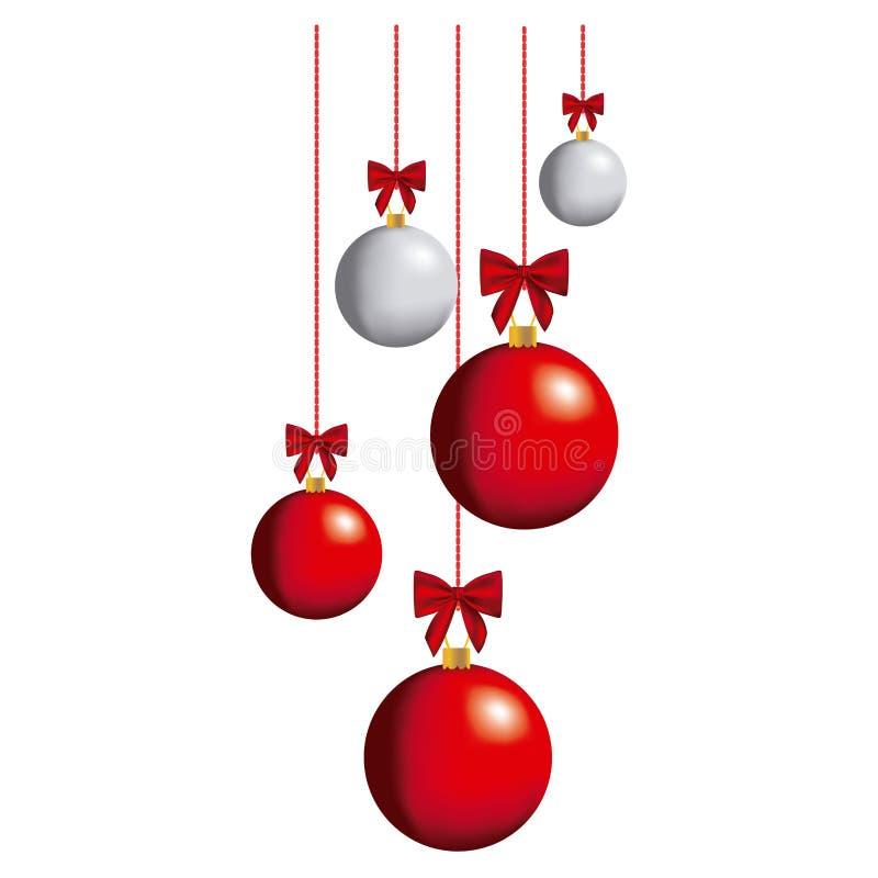 de ballen die van kleurenkerstmis pictogram hangen stock illustratie