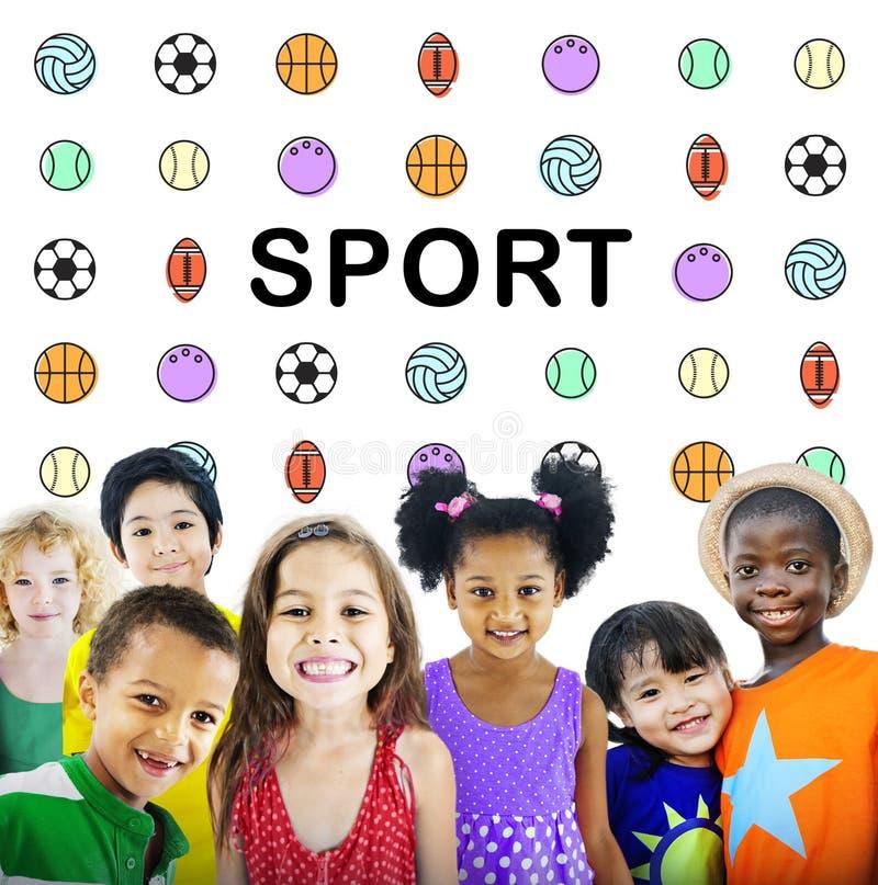 De Ballen Grafisch Concept van sportenbrieven stock afbeeldingen