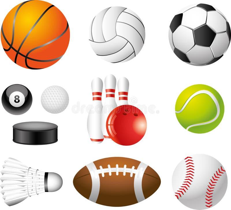 De ballen photo-realistic reeks van de sport stock illustratie