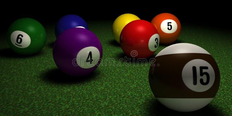 De ballen van Billard op de Lijst vector illustratie