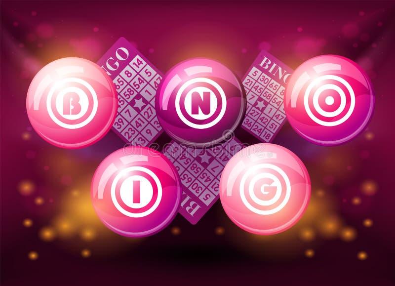 De ballen van Bingo op roze achtergrond vector illustratie