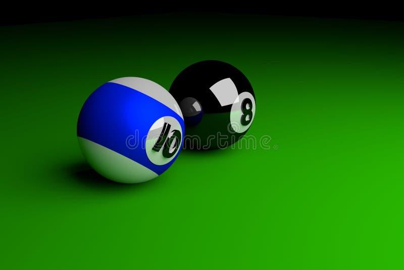 De ballen van de pool op lichtstraal royalty-vrije stock fotografie