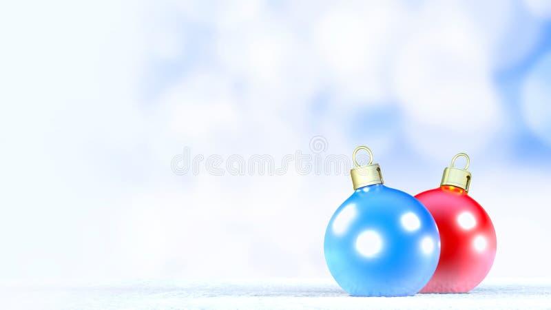De ballen van het Kerstmisornament op een verse sneeuw het 3d teruggeven vector illustratie