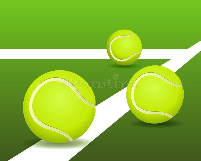 De ballen van het tennis op het hof vector illustratie