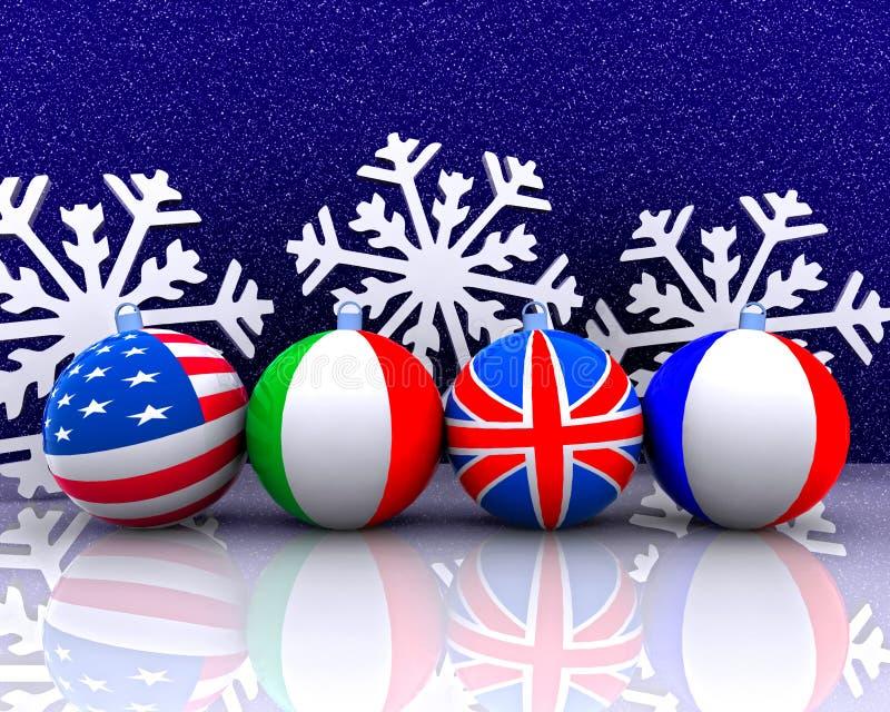 De ballen van Kerstmis met 3D vlag - royalty-vrije illustratie