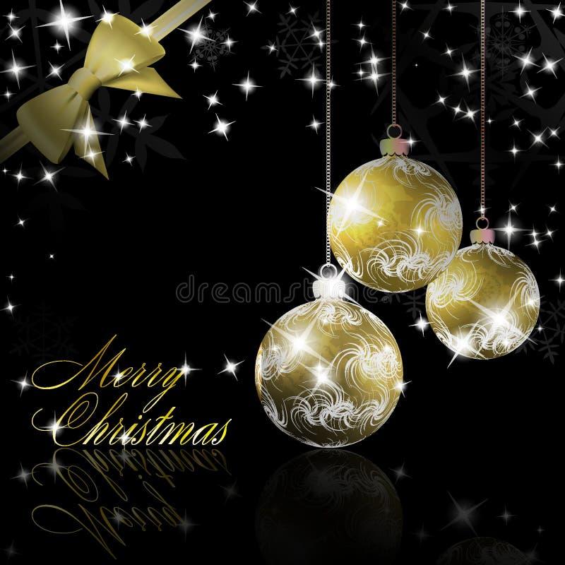 De ballen van Kerstmis met boog en lintachtergrond stock illustratie