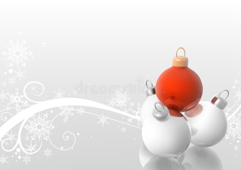 De Ballen van Kerstmis met de winter bloemen stock illustratie